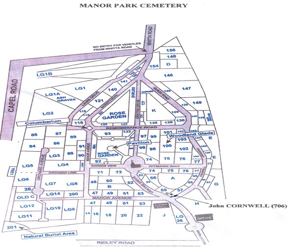 Manor Park Cemetery map