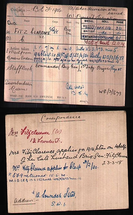 fitzclarence medal card