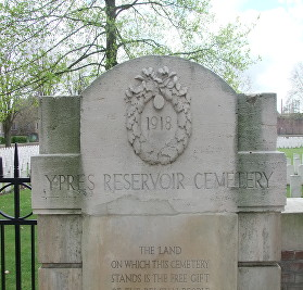 Ypres Reservoir Cemetery sign